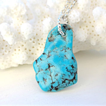 raw turquoise pendant silver, arizona turquoise necklace, blue turquoise nugget pendant, southwestern necklace, turquoise womens necklace