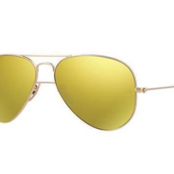 New Authentic Ray-Ban Sunglasses RB 3025 112/93 Matte Gold Yellow Mirror 58mm