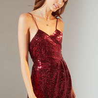 Motel Fabia Sequin Surplice Dress | Urban Outfitters