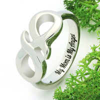"""Infinity Ring for Mom- Mother Ring Infinity  Engraved on Inside with """"My Mom is My Angel"""", Ring Sizes 6 to 9"""