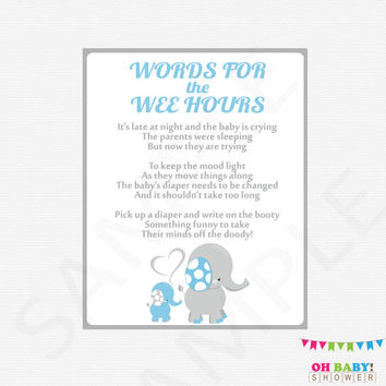Diaper Message Game, Blue Gray Baby Shower Games, Late Night Diapers, Words for Wee Hours, Write on Booty Game, Printable Baby Shower, ELLBG