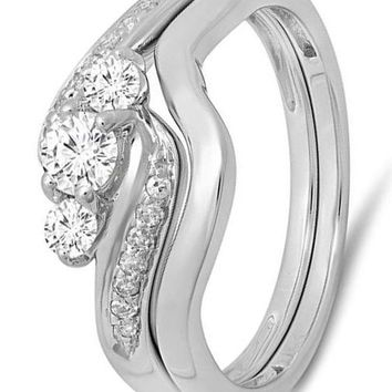 CERTIFIED 0.50 Carat 10K Gold Round Diamond Ladies Swirl 3 Stone Bridal Engagement Ring Set