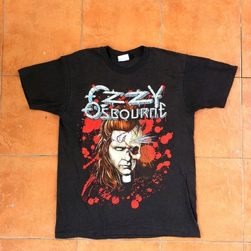ON SALE 1980's OZZY Osbourne Vintage Vtg Chop Hand Black Sabbath Heavy Metal 80's Concert T shirt
