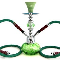 "GSTAR Premium Series: 11"" 2 Hose Hookah Complete Set w/ Carry Case (Optional) - Swirl Glass Vase (Living Green)"