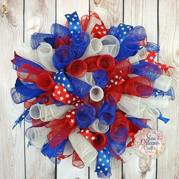 Patriotic Spiral Deco Mesh Wreath - Red White and Blue Mesh Wreath - Spiral Deco Mesh Wreath - Patriotic Wreath - Patriotic Door Decor