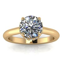 Belted Diamond Solitaire Moissanite Center Engagement Ring - Shy
