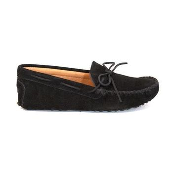 Minnetonka Driving Moc - Black Suede Moccasin Loafer