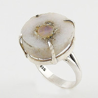 Ethiopian Opal Round Rough Sterling Silver Ring