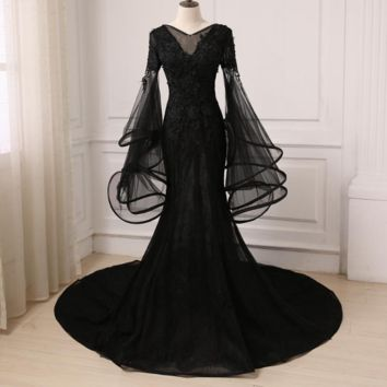 Amazing Black Evening Dress Tulle Applique V-neck Ruffled Long Flare Sleeves Mermaid Prom Evening Gowns