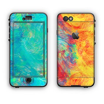 The Vibrant Colored Messy Painted Canvas Apple iPhone 6 LifeProof Nuud Case Skin Set