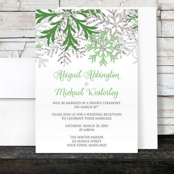 Winter Reception Only Invitations - Green and Silver Glitter-Illustrated Snowflake on White - Post-Wedding Reception - Printed Invitations