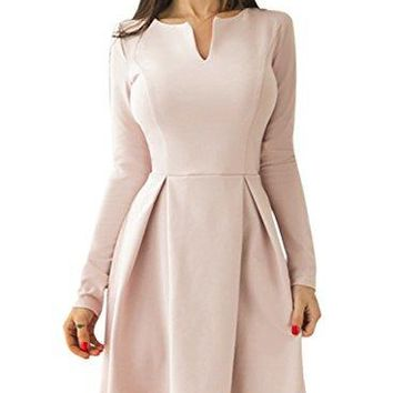 Sidefeel Women Long Sleeve V Neck Pleated Skater Dress