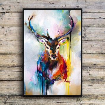 Colorful deer Animal Canvas Print Wall Art Fashion Home Decor Living Room bedroom Oil Paintings