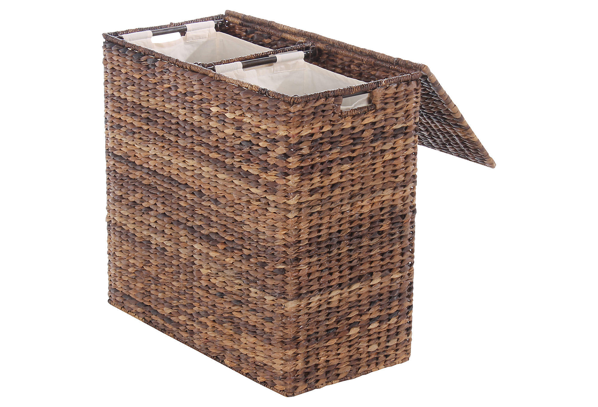 divided abaca hamper espresso laundry from one kings