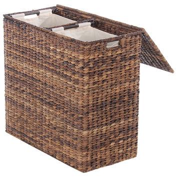 Divided Abaca Hamper, Espresso, Laundry Hampers