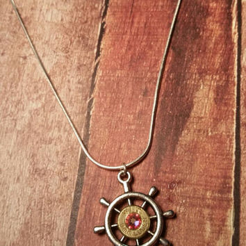 Ship wheel necklace nautical necklace bullet necklace Swarovski necklace ocean necklace redneck necklace cowgirl necklace sterling silver