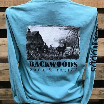 Backwoods Born & Raised Barn Deer Buck Country Comfort Colors Long Sleeves Unisex T Shirt