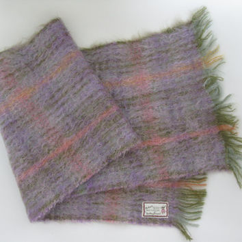 Scottish Checked Vintage Mohair / Wool Scarf - Andrew Stewart - Mohair Shawl - Mohair Wrap - Mohair Pashmina - Mohair Scarf - Plaid Scarf
