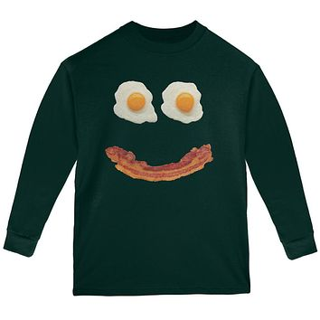 Mr. Happy Smiley Face Bacon And Eggs Youth Long Sleeve T Shirt