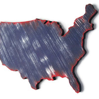 USA map wooden wall decor hand painted in navy blue, white and red, shabby wall hanging, rustic wall art