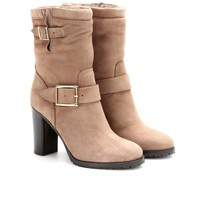Dart suede boots with shearling