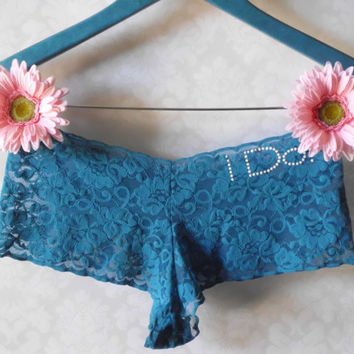 Something blue I Do peacock blue lace bridal by BluIntimates