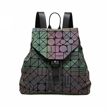 Student Backpack Children WHX Shiny Geometric Patterns Women Backpack Bag Female Backpacks Pu Leather Knapsack Lady Girls Satchel School Student Book Bag AT_49_3