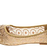 Gold Filigree Ballet Flats