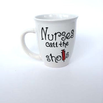 Nurse hand painted coffee mug