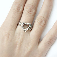 Heart of Love Silver Ring Sterling Ring .925 Silver Ring Personalized Ring