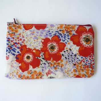 Spring floral fabric makeup bag or coin purse, large zipper pouch with red poppy pattern, Japanese fabric