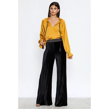 Draw String High Neck Blouse
