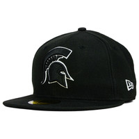 Michigan State Spartans NCAA Black on Black with White 59FIFTY Cap - http://www.dpbolvw.net/click-7710548-11191294?url=http%3A%2F%2Fshop.neweracap.com%2FNCAA%2FMichigan-State-Spartans%2F20507098 / Black / 100% Wool, Woven