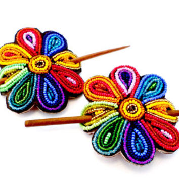 Fair trade beaded hair pin handmade with leather and multicolored beads pretty bohemian gifts for girls African accessories Kenya