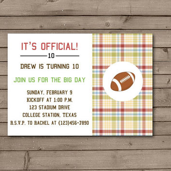 Plaid Football Printable Birthday Party Invitations