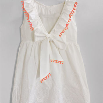 Boho Girl's Clothing Summer White Dress with peach/coral or aqua/turquoise Pom pom trim, Bow, Lace, Ruffles