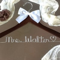 SALE - Personalized Wedding Hanger / bridesmaid gifts / 44 colors of ribbon to choose from/name hanger/brides hanger/