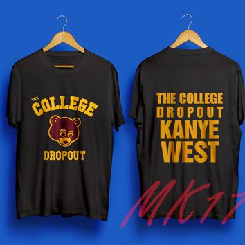 HOT the College Dropout Bear Kanye West T-shirt black Gildan Tee S to XXL