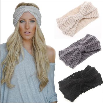Women Knot Knit Headband Bow Crochet Turban Head Wrap Hair Accessories-2