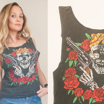 Vintage 1989 Guns N Roses Rock Tee Tank Top | Trashed Thin Soft Faded Black Worn In T-Shirt | Tee Rock and Roll 1980s 90s Band Concert Tour