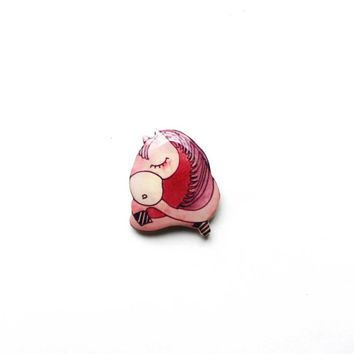 Animal brooch pin, Pink horse, clay horse, Christmas gift, Free shipping worldwide
