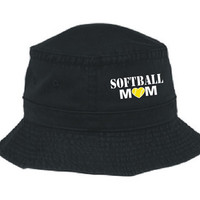 Softball Mom Unstructured Embroidered Bucket Hat Mom Gift Softball Hat Player Sports Mom Fastpitch Softball Parent Hat Embroidery