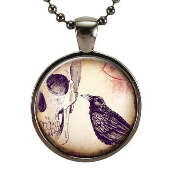 Raven & Skull Necklace, Crow Charm, Halloween Jewelry, Halloween Costume Accessories, Gothic Pendant
