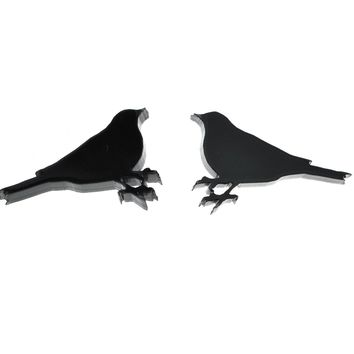 Bird Earrings in Solid Black