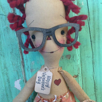 Valentine's Day gifts be mine nerdy glasses Raggedy Annie Doll