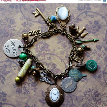 SALE Voyage Travel Journey Theme Charm Bracelet Vacation Bon Voyage Wanderlust in Brass and Greens