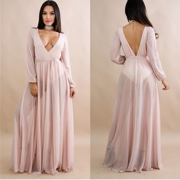 Apricot Draped Backless Deep V-neck Lantern Sleeve Sparkly Bright Wire Party Maxi Dress