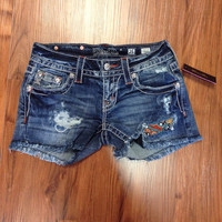 Miss Me Festival Darling Insert Cut-Off Denim Jean Shorts