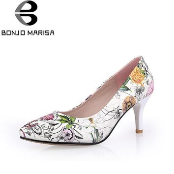 BONJOMARISA Women's Flower Print High Heel Party Wedding Shoes Woman 2018 Pointed Toe Less Platform Pumps Size 34-39