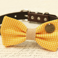 Yellow Dog Bow Tie attached to collar, Burlap, Pet wedding, Christmas, Cat Bow tie